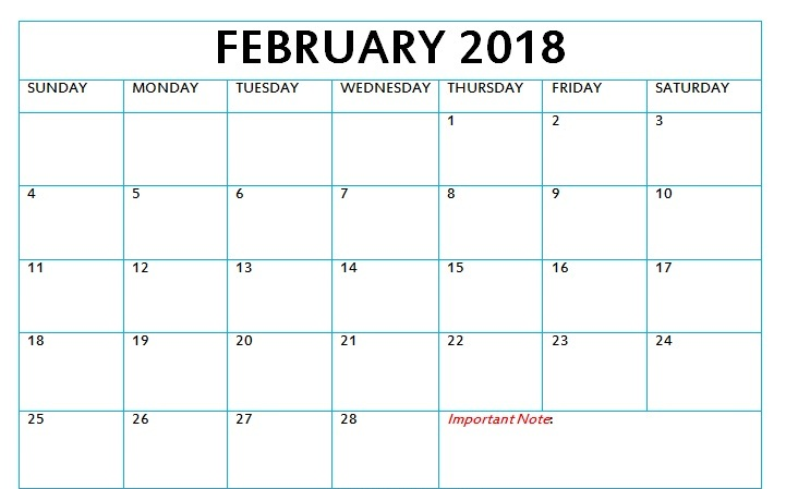 Download Blank Calendar 2018 Monthly Printable Templates For Free