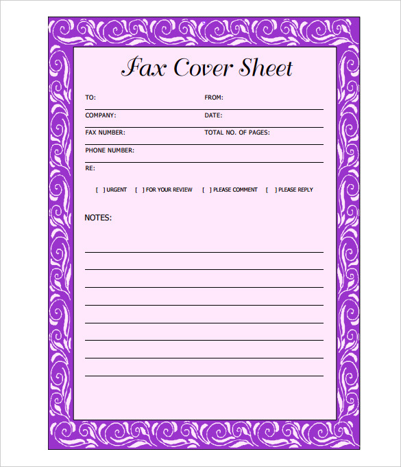 Free Fax Cover Sheet PDF Word Blank Template - fax cover letter word
