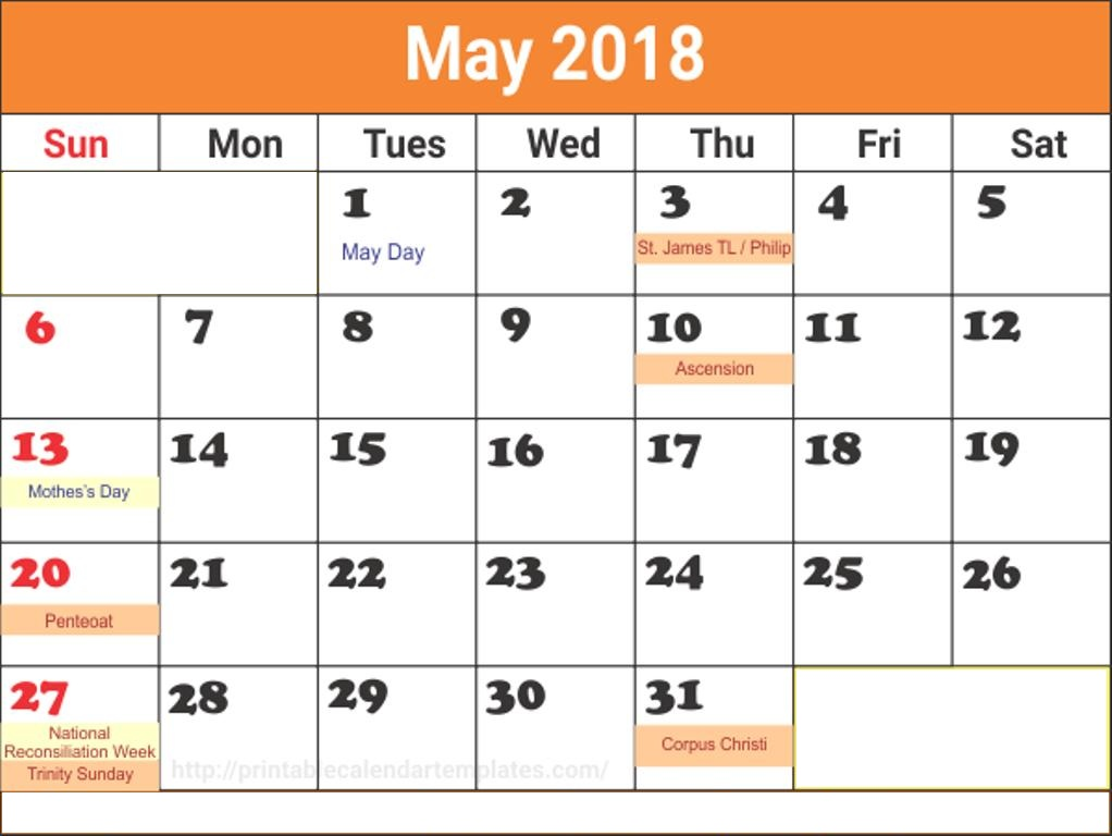 Calendar May 2018 With Holidays USA, Canada, UK, Australia