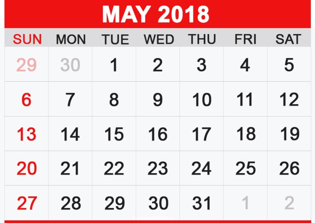 May Calendar 2018 In Pdf, Word, Excel Printable Template