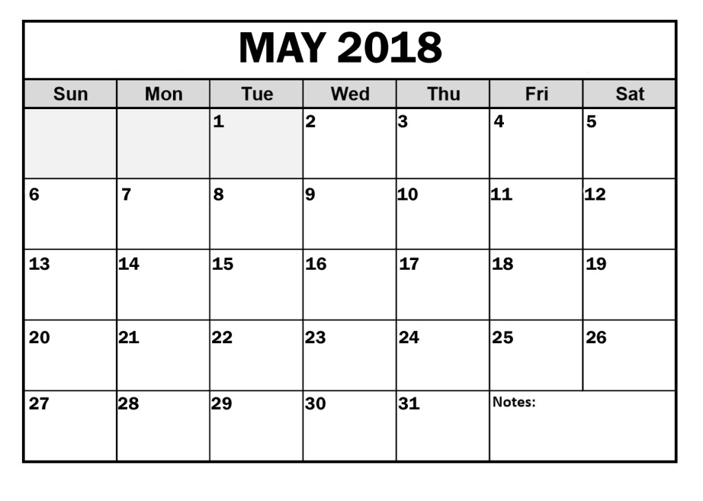 May Calendar 2018 Printable PDF Free Template