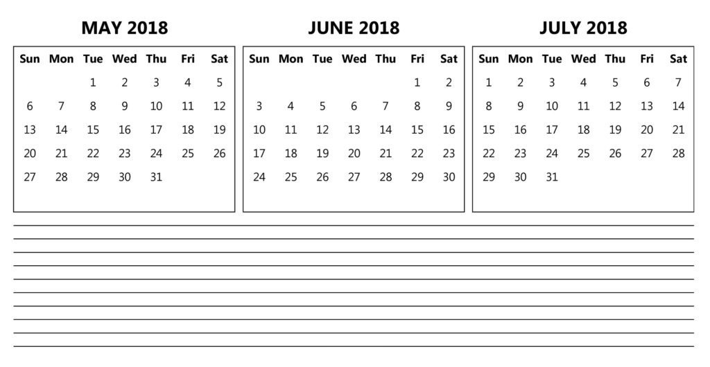 May June 2018 Calendar Printable Template Free Download