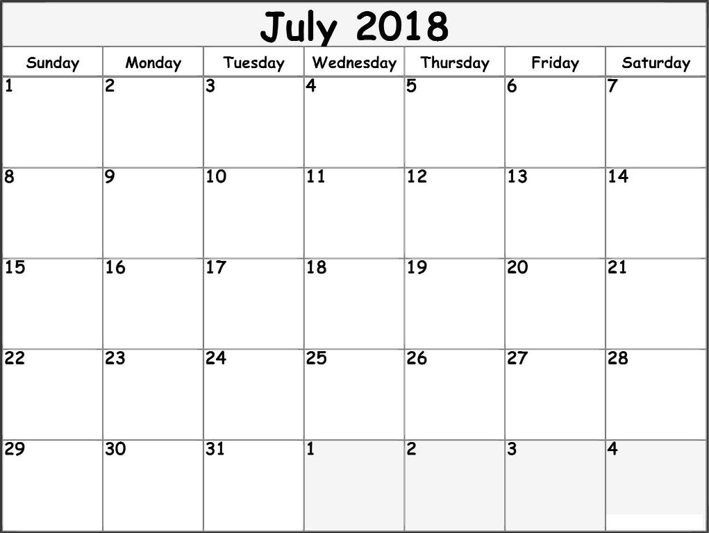 July 2018 Calendar Template Word, Excel, Pdf Format