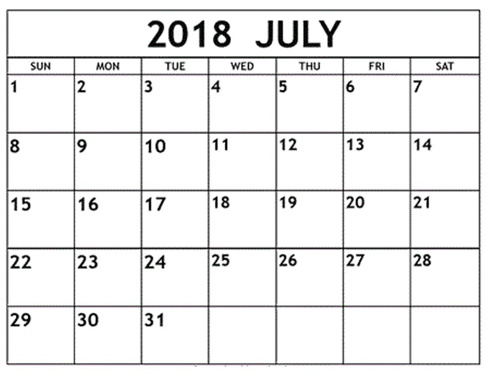 July Month Calendar 2018 \u2013 Printable Monthly Template - blank month template