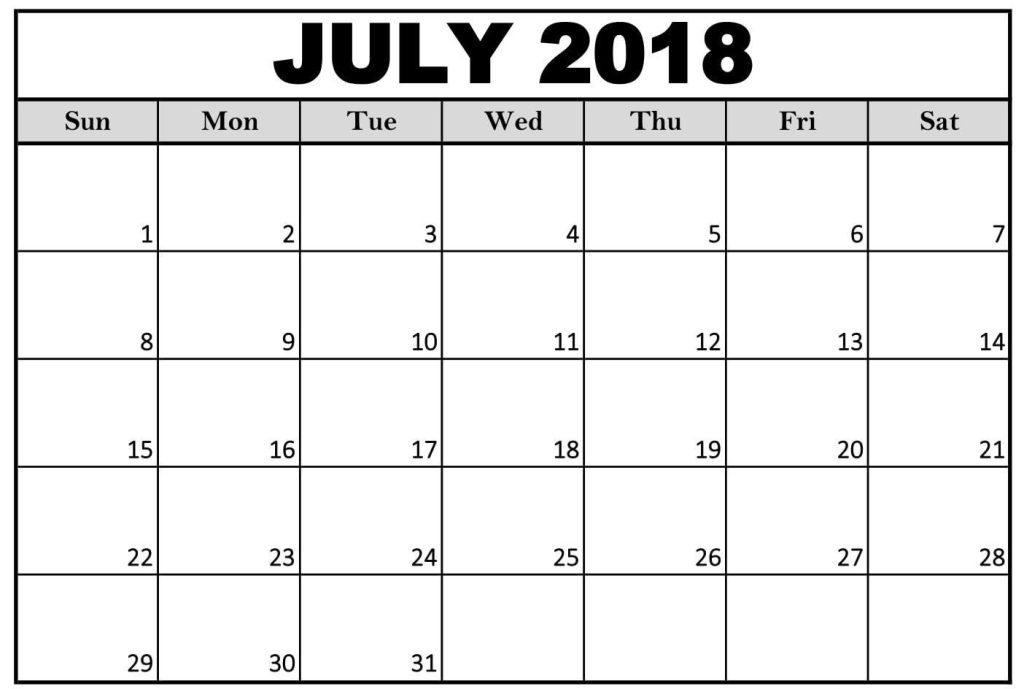 July Month Calendar 2018 \u2013 Printable Monthly Template - monthly calendar blank