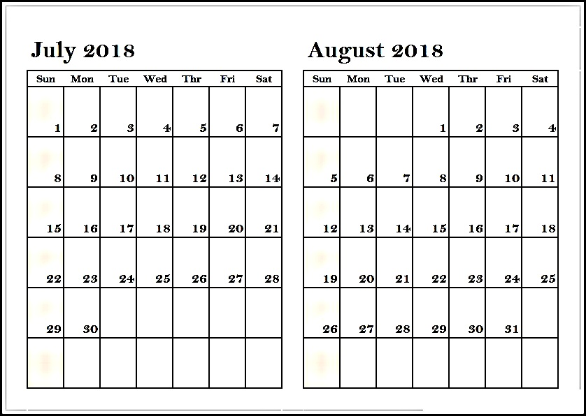 July August 2018 Calendar \u2013 Two Month Printable Calendar