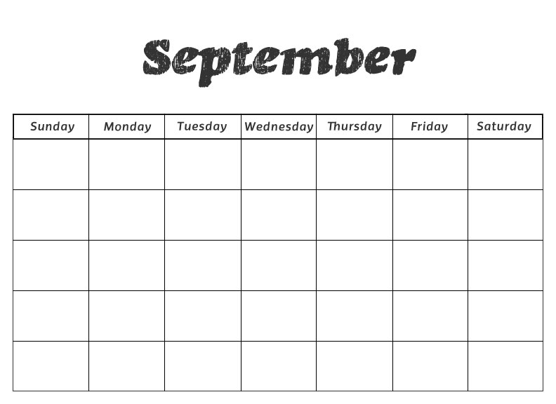 Blank Calendar September 2018 Printable Free Download - Printable Blank Calendar