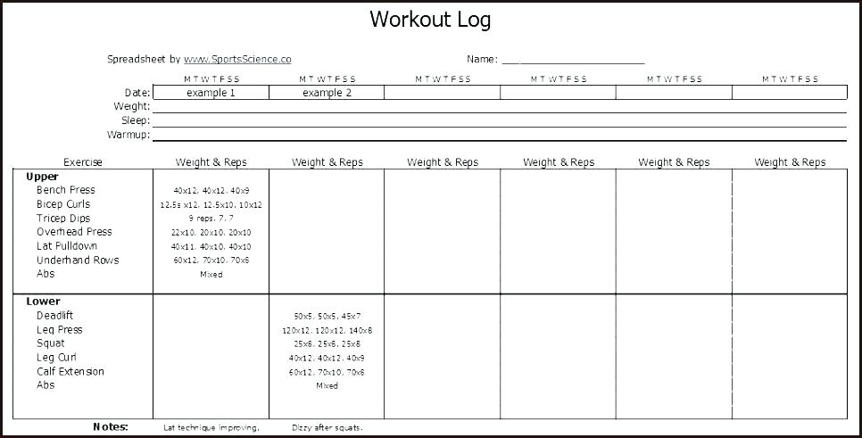Gym Log Book Template - exercise log template