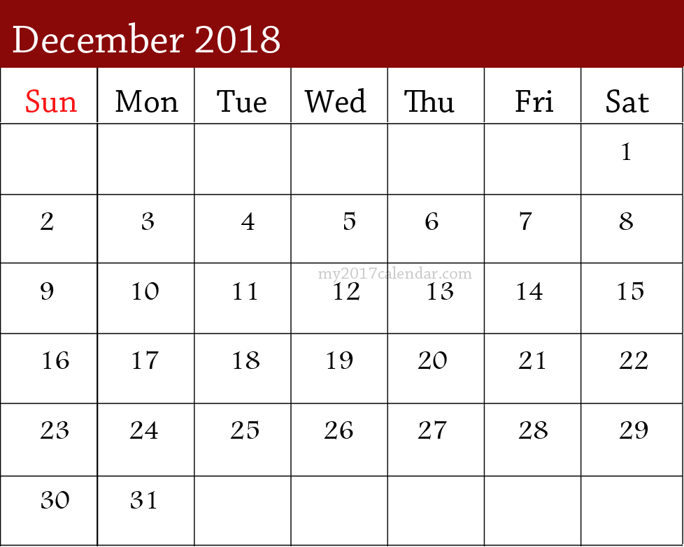 December Month Calendar 2018 \u2013 Printable Monthly Template