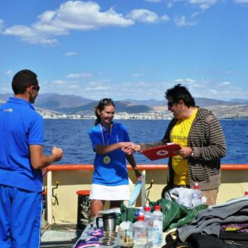 Having broken two national records (FIM,CWT) Andriana receives her award from AIDA ex-president Panicos Panayiotou
