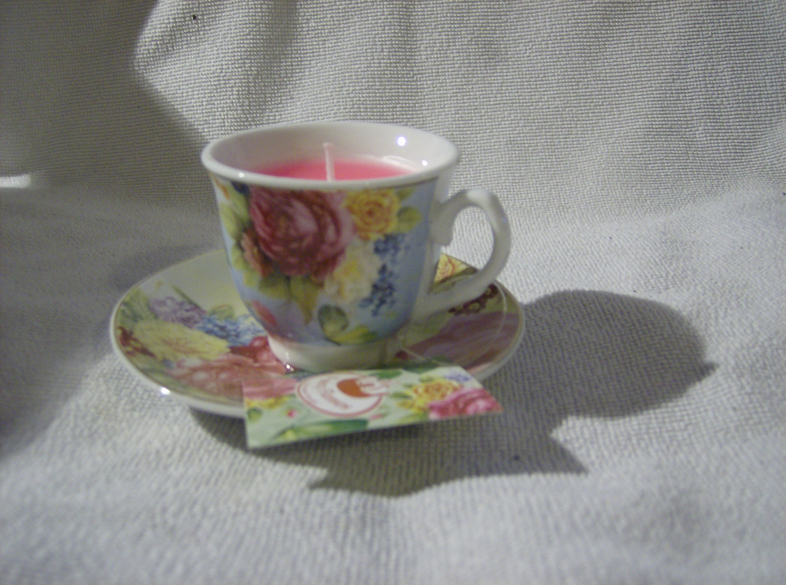 Fancy Cappuccino Cups Decorative Espresso Cup And Saucer With Candle Blue With Roses