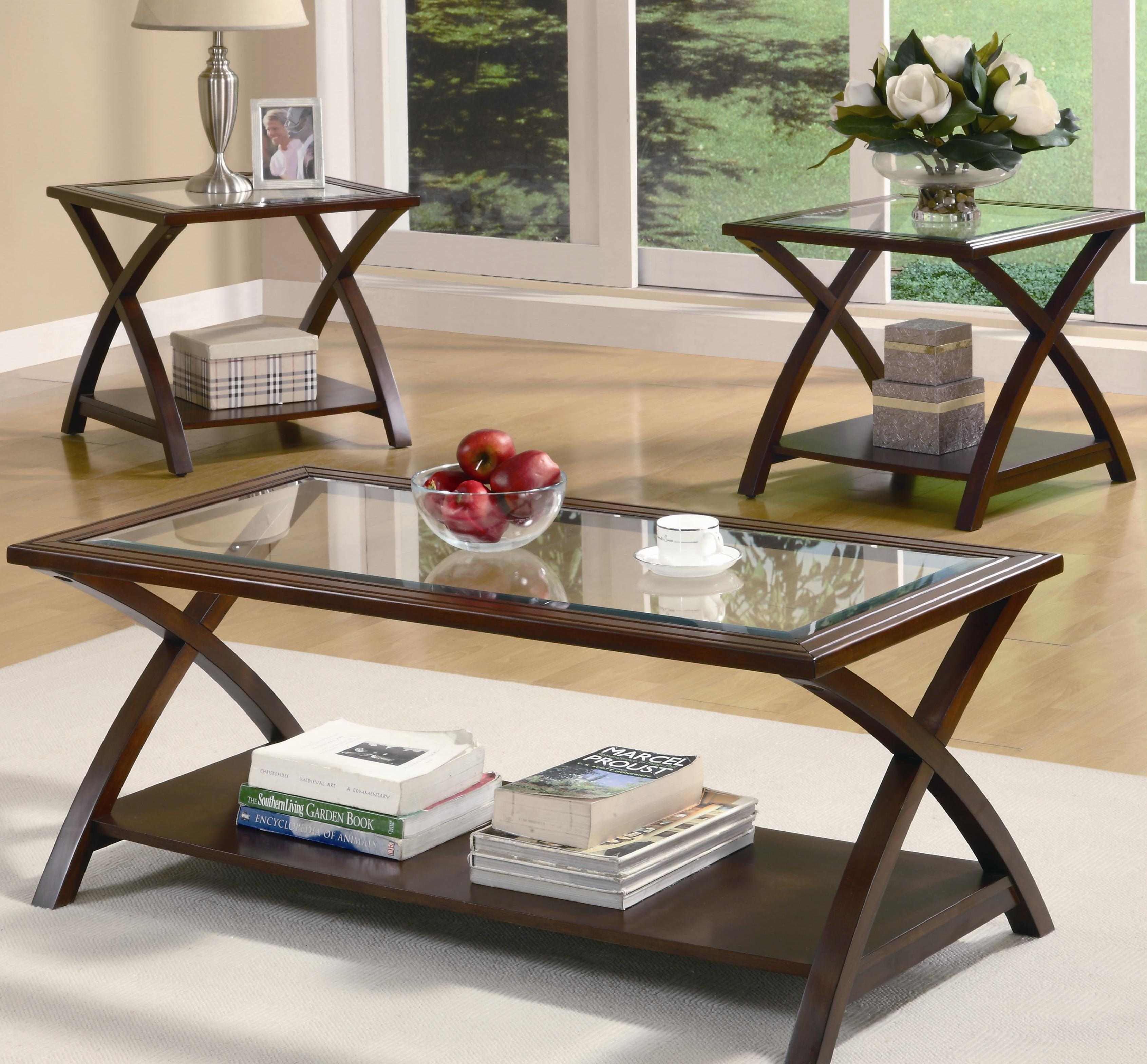 Glass End Tables Set Coaster Furniture 3 Piece X Occasional Table Set Aim