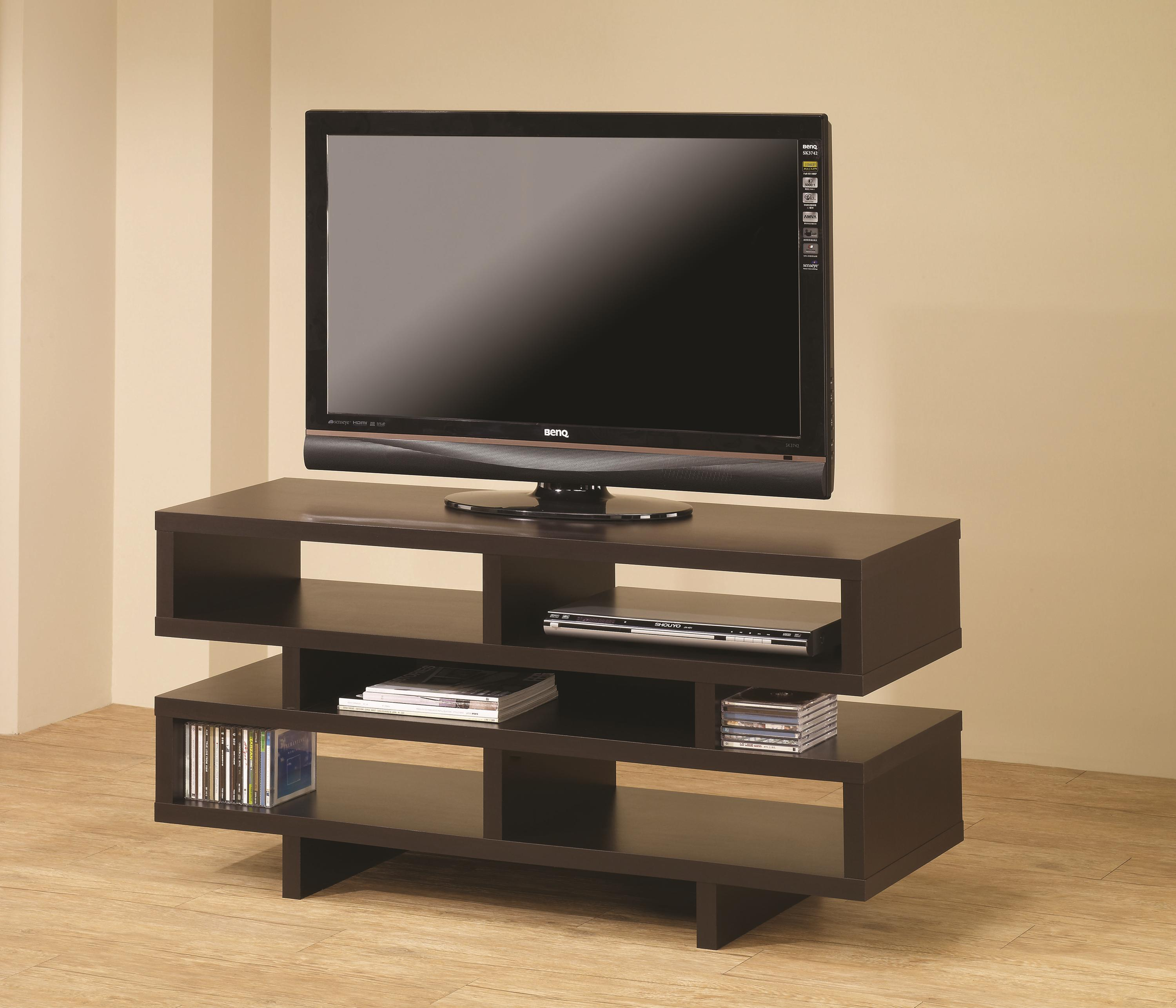 Contemporary Tv Stands Coaster Leo Console In Two Finishes Aim Rental