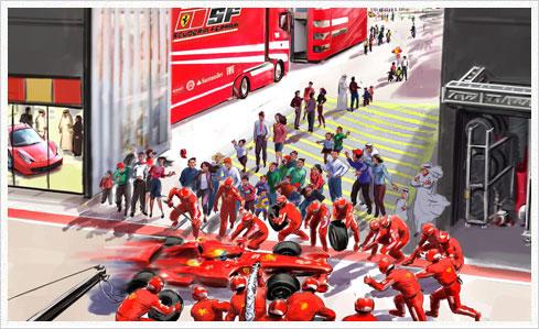ferrari world 07 paddock Neue Bilder und Infos zu vier Attraktionen der Ferrari World