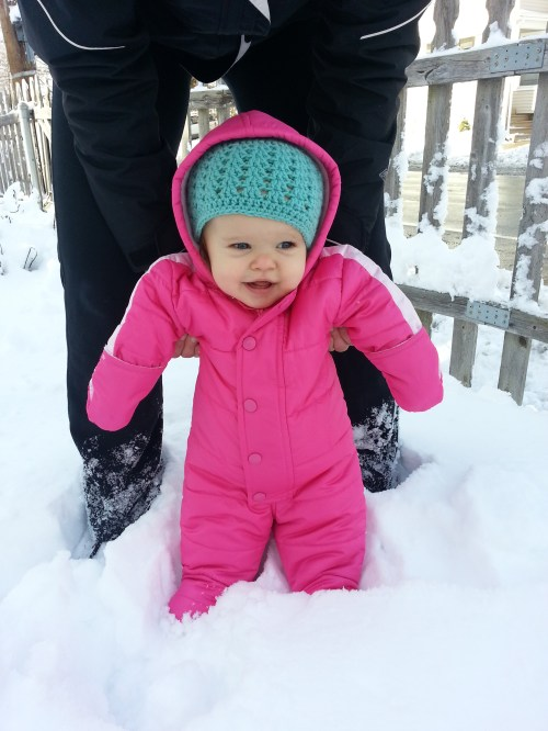 Addie is thankful for snowsuits!