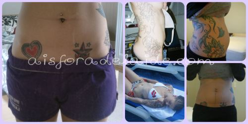 My belly when we decided to conceive, age 27. Me at 21, after being tattooed and me at 25 on our honeymoon.