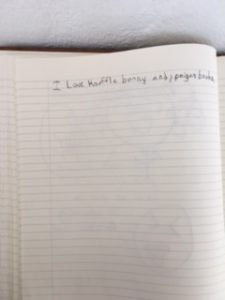 "This is a page from the exhibit guest book which reads, ""I love knuffle bunny and pigeon books."""