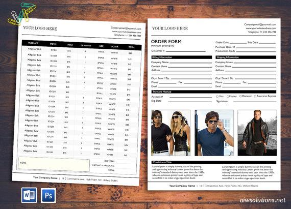 Price Sheet, Order form template, cover order form, Vertical Line