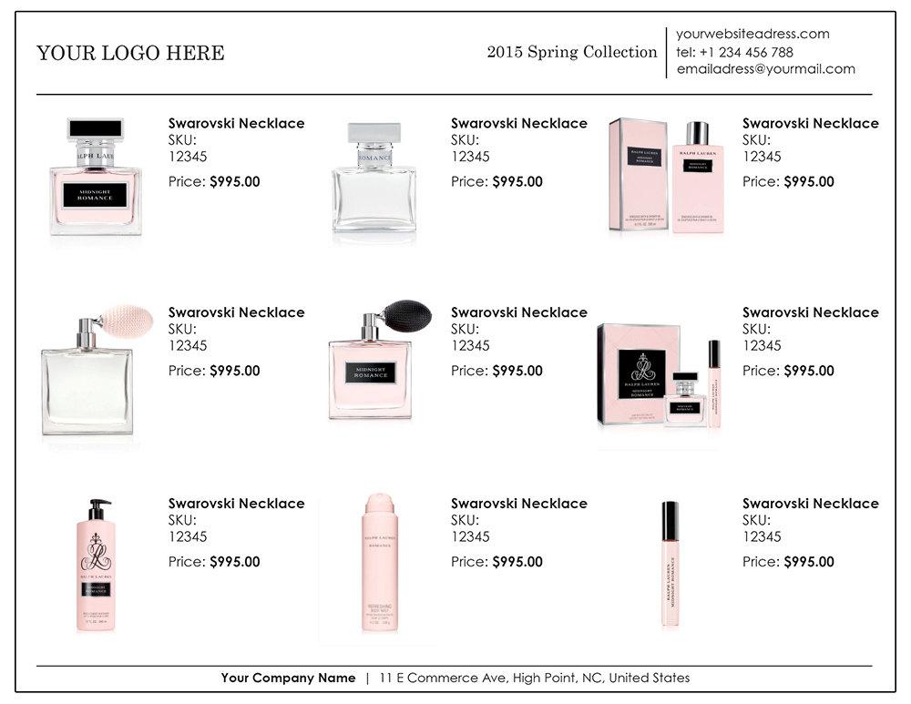 Wholesale linesheet template, Line Sheet template, product brochure
