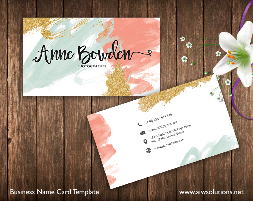Premade Business Card Template, Name Card Template, Photography name - template for name cards