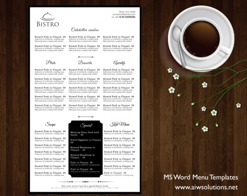 Food Menu Templates For Microsoft Word Choice Image - Template
