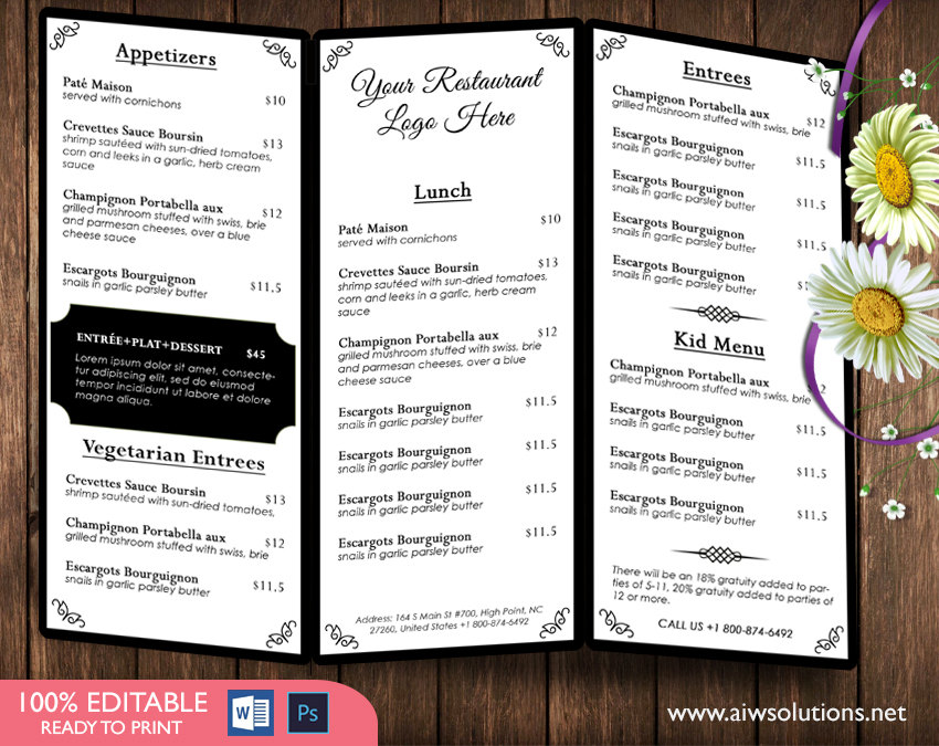 food and dink menu template \u2013 aiwsolutions