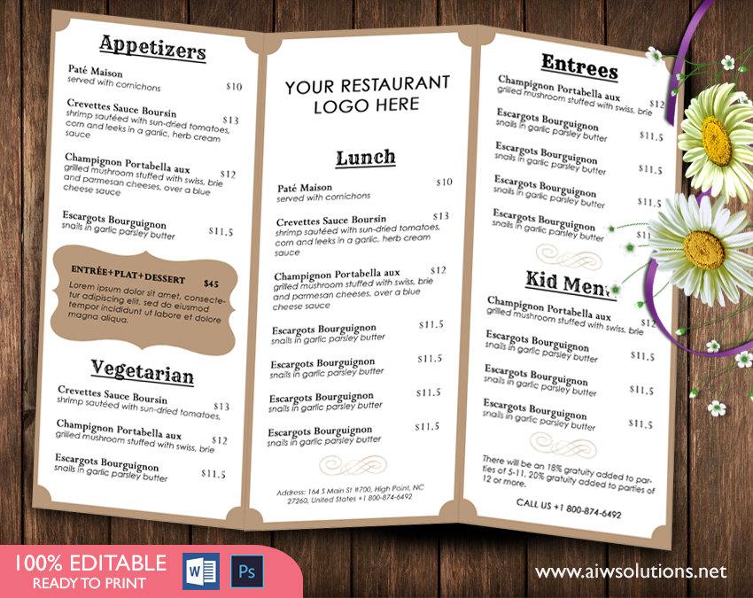 Design  Templates,tri fold take out menu, Menu Templates ,Wedding - how to make a restaurant menu on microsoft word