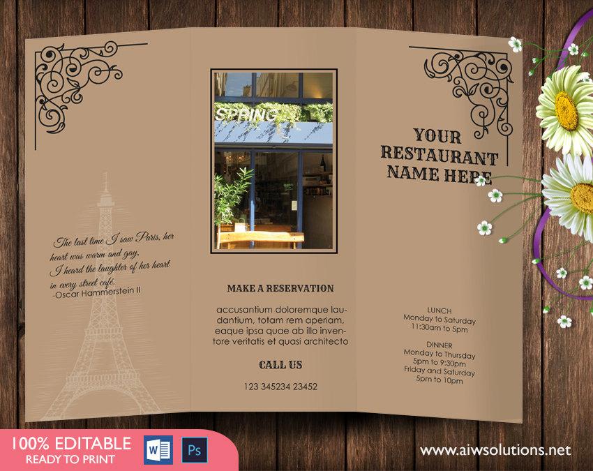 Design  Templates,tri fold take out menu, Menu Templates ,Wedding