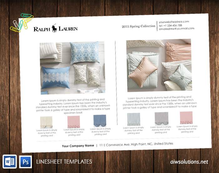 Wholesale linesheet template, Line Sheet template, product brochure