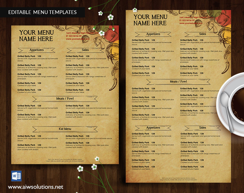 Design  Templates, Menu Templates ,Wedding Menu , Food Menu ,bar - food menu template