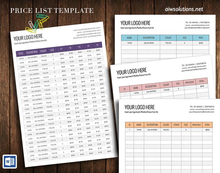 price list design template – Sample Price Sheet
