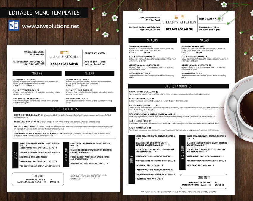 Design  Templates, Menu Templates ,Wedding Menu , Food Menu ,bar - how to make a food menu on microsoft word