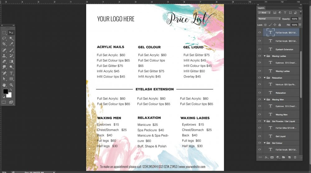 pricing list template, price list template, menu template