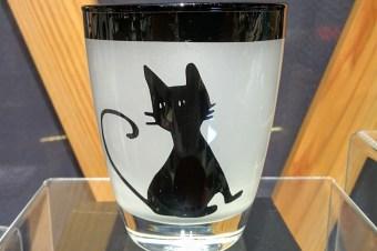 会津漆グラス 猫 黒
