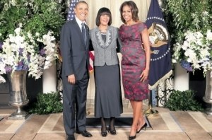 Prime Minister Portia Simpson Miller with US President Borack Obama and first lady Michelle Obama