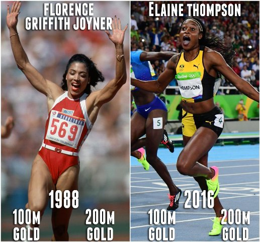 Olympic Florence Griffith-Joyner USA and Elaine Thompson