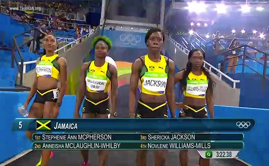 Jamaican 4X400 medal winners