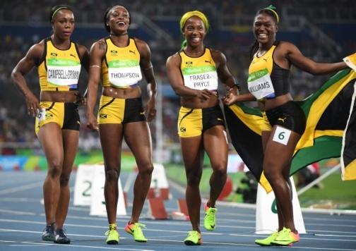 Jamaica's Veronica Campbell-Brown, Jamaica's Elaine Thompson, Jamaica's Shelly-Ann Fraser-Pryce and Jamaica's Christania Williams