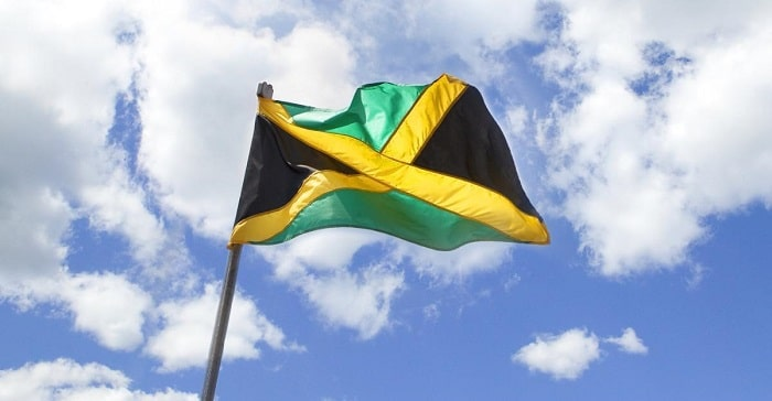 jamaica flag blown by the wind