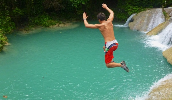 Jumping in the Blue Hole, Jamaica