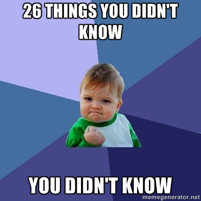 26 things you probably didn't know you didn't know!