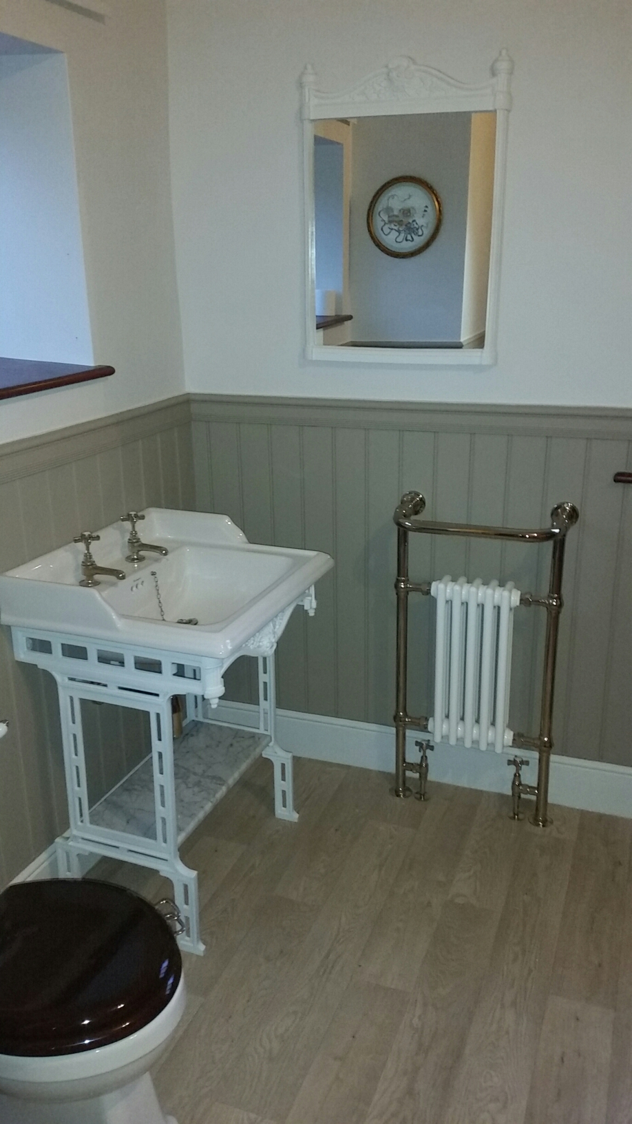 Traditional Bathroom In An Old Cottage Wood Paneling With Gold Fittings Ajd Interiors