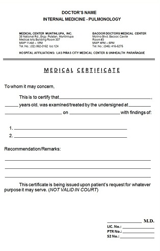 medical certificate philippines - Onwebioinnovate