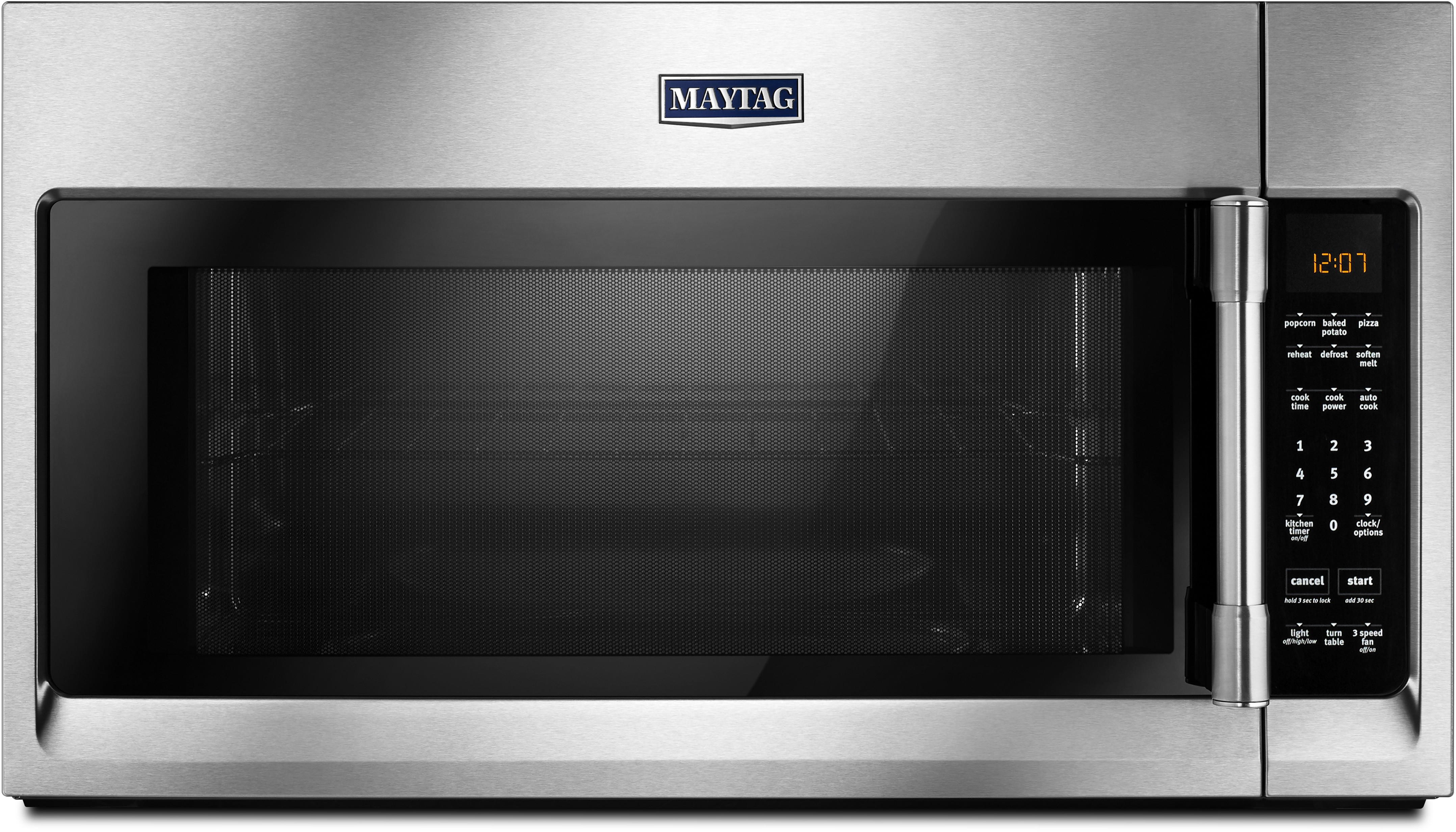 Maytag Mmv4206fz 30 Inch Over The Range Microwave Oven With 1 000 Cooking Watts 400 Cfm Sensor Reheat Multiple Speed Exhaust Fan Charcoal Odor Filter Control Lock And 2 Cu Ft Capacity Fingerprint Resistant Stainless Steel