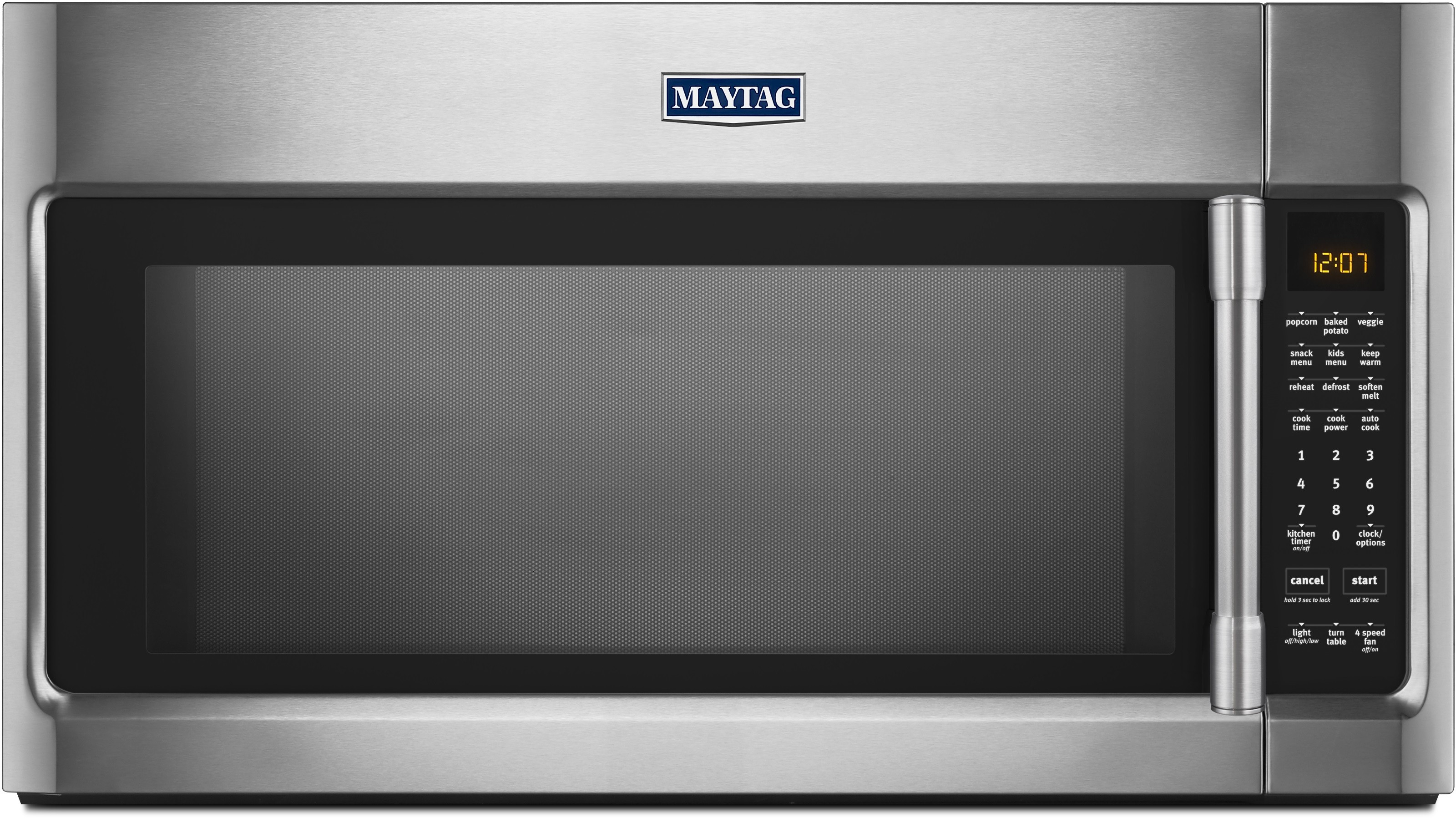 Maytag Mmv5219fz 2 1 Cu Ft Over The Range Microwave With Wideglide Tray Sensor Cooking Charcoal Odor Filter Mesh Grease Filter Electronic Touch Controls Incandescent Lighting 400 Cfm Fan And 1 000 Cooking Watts Fingerprint Resistant