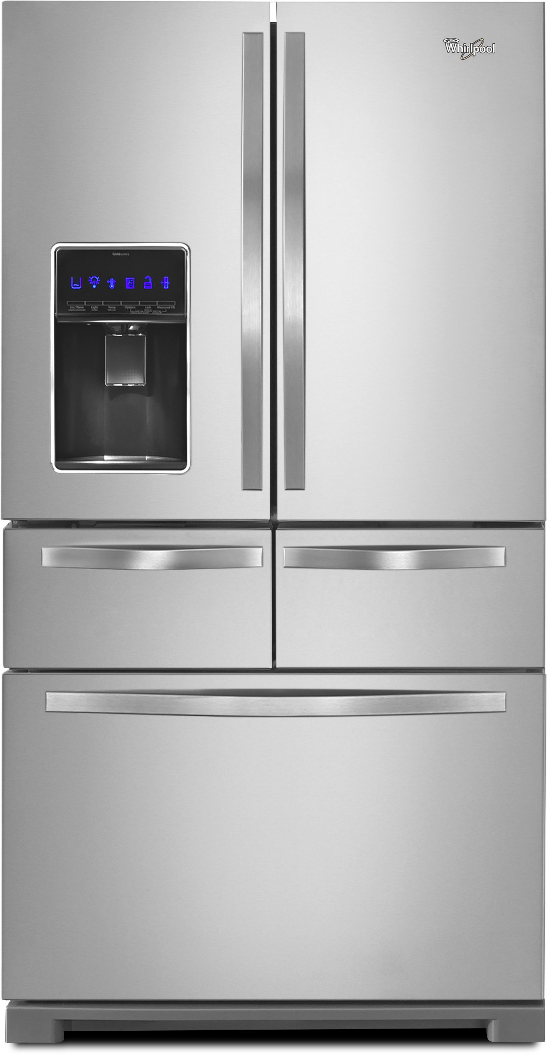 Whirlpool Wrv986fdem 36 Inch 5 Door French Door Refrigerator With 25 8 Cu Ft Capacity 5 Microedge Glass Shelves Gallon Door Storage External Temperature Controlled Drawer Storeright System Water Filter Measured Fill Dual Ice Makers