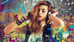 Girl listen to music between colorful notes