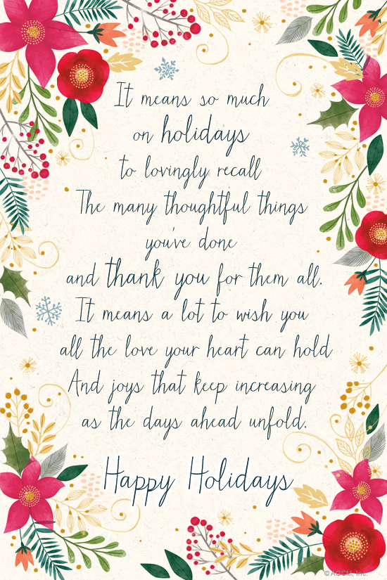 Holiday Thank You Poem\