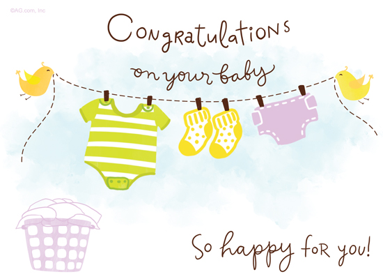 Happy Baby Wishes Ecard (Postcard) - American Greetings - new baby congratulations