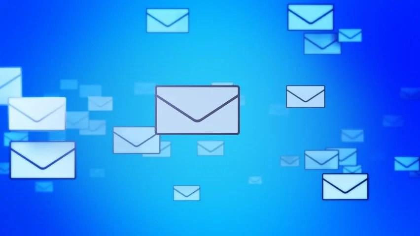 Stock video of sending mails background (loop) letters flying - mail background